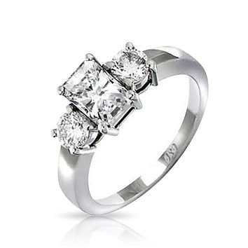 2 CT Emerald Cut 3 Stone CZ Engagement Ring 925 Sterling Silver