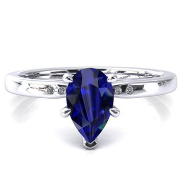 Maise Pear Blue Sapphire 6 Prong Diamond Accent Engagement Ring