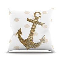 "Nika Martinez ""Glitter Anchor"" Gold Sparkles Outdoor Throw Pillow"