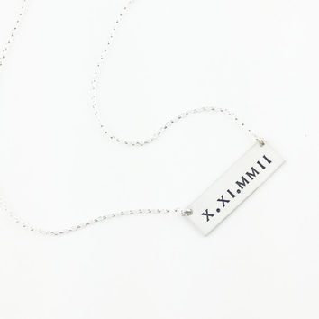 Roman Numeral Bar Necklace/Personalized Jewelry/Name Plate Necklace/ Silver Necklace/Best Friend Gift/Gift for her/ Cursive Bar
