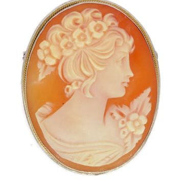 Art Deco Carved Shell Cameo Brooch