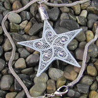 Light Gray Lace Star  Necklace - Lightweight Necklace - Large Pendant Necklace