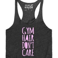 Gym Hair Don't Care Tank Top-Unisex Heather Onyx Tank