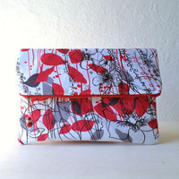 Vegan Clutch, handbag,  fold over clutch,white satin in floral pattern,  crystal pendant, Ready To Ship.