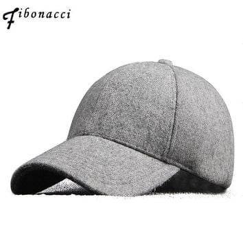 Trendy Winter Jacket Fibonacci High Quality Winter Solid Wool Felt Snapback Hats for Men Baseball Caps AT_92_12