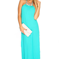 Jade Halter Crochet Design Summer Beach Maxi Dress