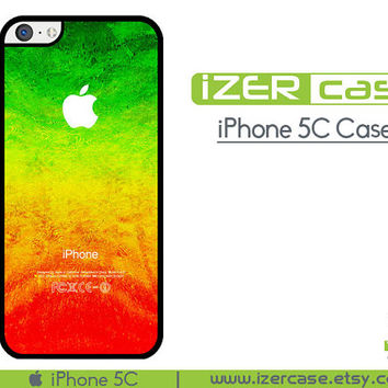 iPhone 5C Case iPhone 5C Cover iPhone 5C Rubber Case Rasta Reggae Colors Pattern