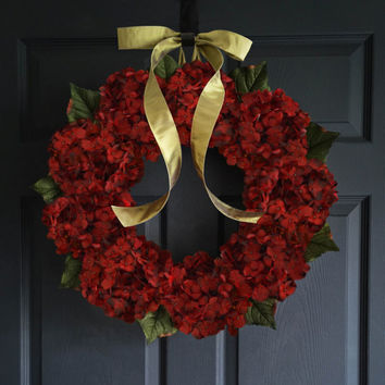 WREATH SALE Autumn Hydrangea Wreath - Cranberry Red - Front Door Wreaths - Outdoor Fall Wreath - New Home Door Wreath - Housewarming Gift