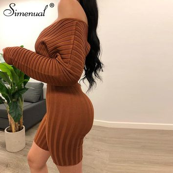 Simenual Sexy V Neck Crop Top And Biker Shorts Set Ribbed Long Sleeve Skinny Matching Sets Autumn Fashion Women 2 Piece Outfits