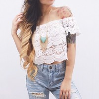 See Through Crochet Lace Top