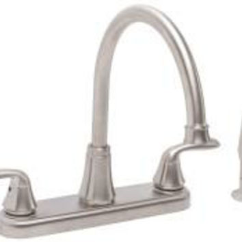 Kitchen Faucet 2 Handle Pvd Brushed Nickel With Sprayer