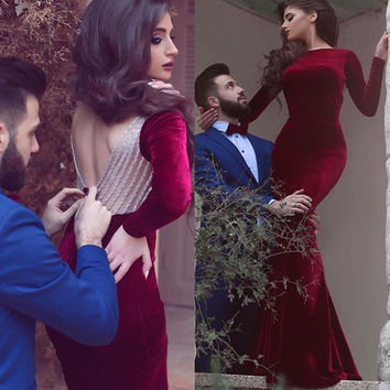 2017 New Arrival Long Sleeve Red Wine Backless Velour Prom Dress High Fashion Gorgeous burgundy  Prom Gown vestido de festa