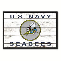 US Navy Seabees Military Flag Vintage Canvas Print with Picture Frame Home Decor Man Cave Wall Art Collectible Decoration Artwork Gifts