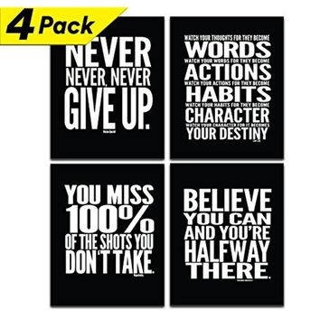 """Motivational Poster - 8"""" x 10"""" inches - Inspirational Quotes - Quote Wall Decals - Awesome Gym Workout Posters - Cool Typography"""