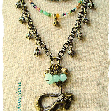 Bohemian Necklace, Siren, Handmade Beaded Mermaid Necklace, Multiple Strands, bohostyleme, Kaye Kraus
