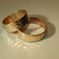 Bronze hammered ring set or wedding bands