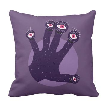 Creepy Hand Has Weird Fingers With Watching Eyes Throw Pillow