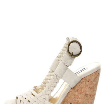 Not Rated Margarita Cream Braided Wedge Sandals