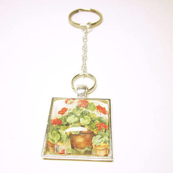 Key Chain With Red Flowers Silver Pendant Key Ring Silver Tone Chain Housewarming Gift Idea For Her
