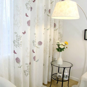 2 x Custom Made Floral Embroidered Curtain Panel French Country Cottage Shabby Chic Provincial