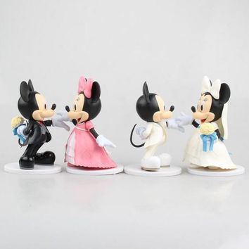 2pcs/set  Cartoon Animal mouse Mickey figure Minnie mouse model Wedding cake decoration gifts