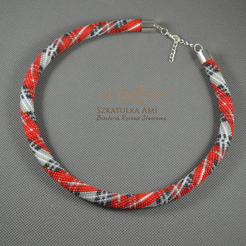 Red Scottish Tartan necklace Seed beads crochet rope beaded necklace Tube Crochet necklace friend from mother gift womens glass beads