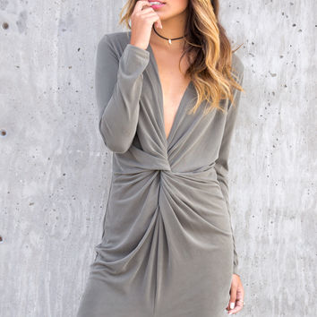 Viktoria Front Twist Olive Dress