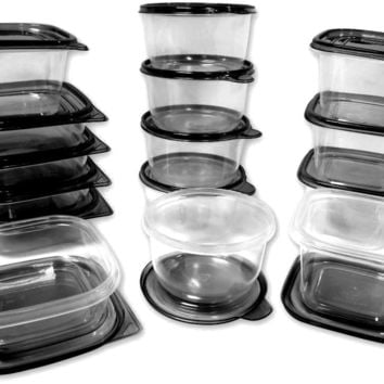 Imperial Home Plastic Container Set Black Lids - CASE OF 12