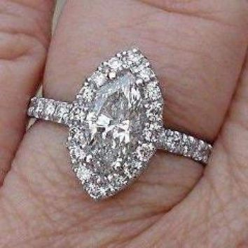 Luxinelle 1.60 Carat Certified Marquise Diamond Halo Engagement Ring - 14K White Gold by Luxinelle® Jewelry