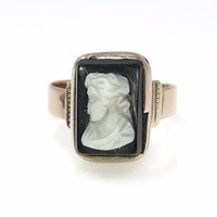 Victorian Hardstone Cameo Rose Gold Ring