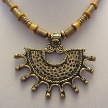 Indian Brass Pendant, Ghanaian Brass and Greek Ceramic Bead Necklace 20.5""