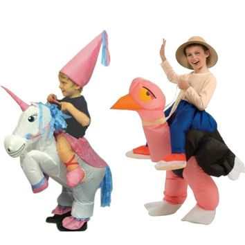 5 - 7 Years Old Kids Toy  Animal Inflatable Unicorn Ostrich Costume Halloween Party Dress Outfit