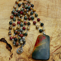 Picasso Jasper Stone Statement Necklace ~  Rope Necklace  ~ Jasper Stone Pendant ~ Extra Long Boho Necklace ~ Earth Colours  ~ Hippie Style