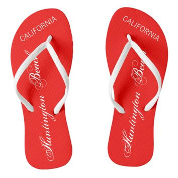 Huntington Beach, CALIFORNIA red and white Flip Flops
