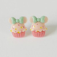 Disney Cupcake Stud Earrings, Bow Minnie Mouse Earrings, Bow Pastel Pink Stud Earrings, Minnie Ears, Disney World, Disney, Gift Ideas
