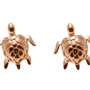 ROSE GOLD PLATED SILVER 925 HAWAIIAN SHINY SEA TURTLE STUD EARRINGS 12MM