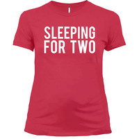 Maternity T Shirt Pregnancy Announcement New Baby Gifts For Expecting Mothers Pregnant Clothes Mom To Be Sleeping For Two Ladies Tee - SA800