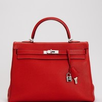 Hermes LN Red Clemence Leather Silver Buckle Kelly 35 Birkin Bag - Hermes - Modnique.com