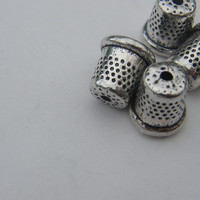 BULK 30 Thimble charms ( double sided and 3D ) 12 x 12mm antique silver tone