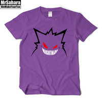Pokemon Gengar Tshirt anime cartoon man's short sleeve t shirt tee fine cotton O-neck mans casual Genger top tee quick shipping