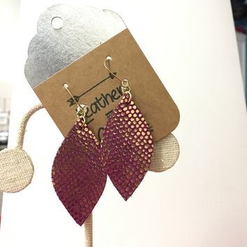 Hot Pink & Gold Teardrop Leather
