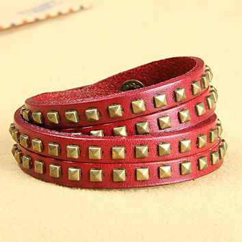 Fashion Punk  Adjustable Leather Wristband Cuff Bracelet  - Great for Men, Women, Teens, Boys, Girls 2760s