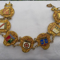 Vintage French Souvenir Bracelet, Regions of France, Heraldic Style, French Jewelry