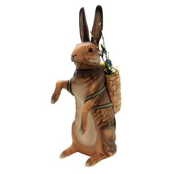 Marolin HARE WITH BASKET Paper Mache Easter Rabbit Bunny Container 9500.1/1K