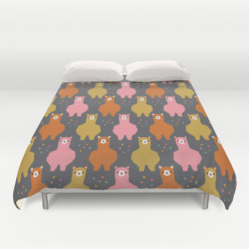 The Alpacas III Duvet Cover by littleoddforest