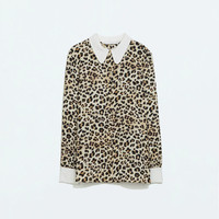 Leopard Print Peter Pan Collar Long Sleeve Bouse