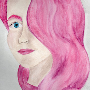 Pink Lady Watercolor Painting, Portrait of a Woman, Painting of a Girl in Profile