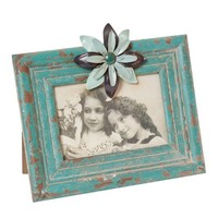 Wilco Imports Distressed Aqua Photo Frame with a Blue Metal Flower Accent, 8-3/4-Inch by 1-1/4-Inch by 7-3/4-Inch