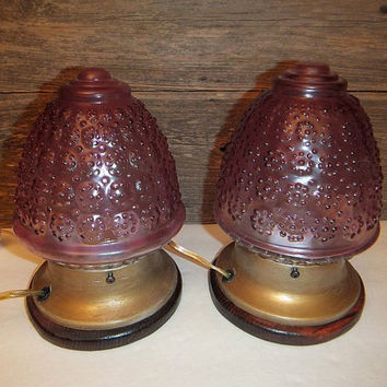 Steampunk Lamps / Pair / Vintage Lights Repurposed / Purple Glass Globes