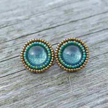 Green Bronze Earrings Stud Vintage Glass Stud Post Metallic Glitter Small Casual Birthday Unique Handcrafted Beaded Jewelry